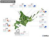 2016年09月07日の北海道地方の実況天気
