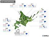 2016年09月09日の北海道地方の実況天気
