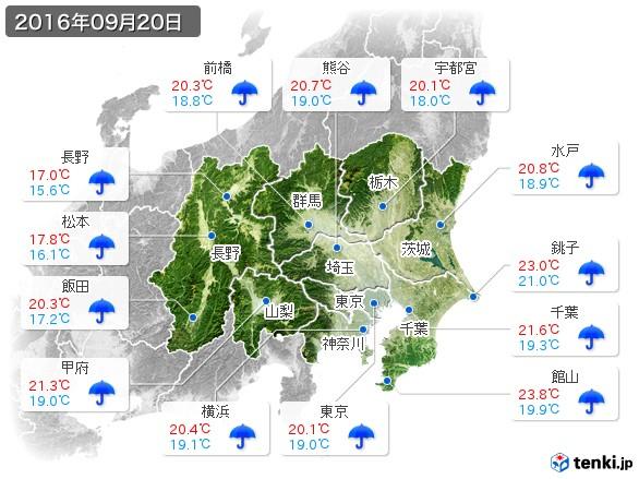 関東・甲信地方(2016年09月20日の天気