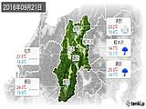2016年09月21日の長野県の実況天気