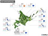 2016年09月23日の北海道地方の実況天気