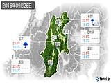 2016年09月26日の長野県の実況天気