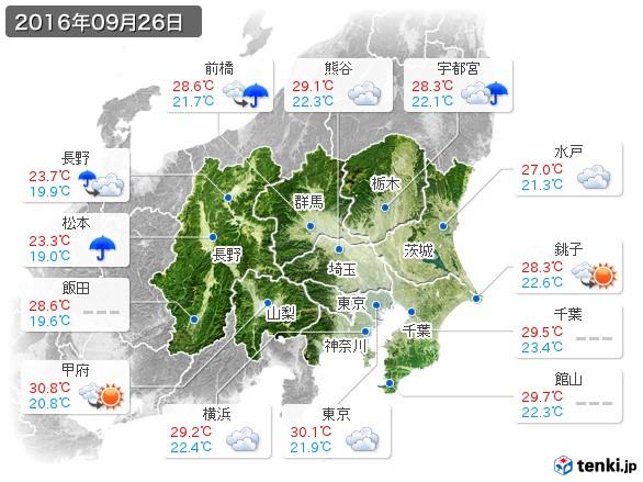 関東・甲信地方(2016年09月26日の天気