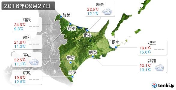 道東(2016年09月27日の天気