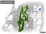 2016年09月28日の長野県の実況天気
