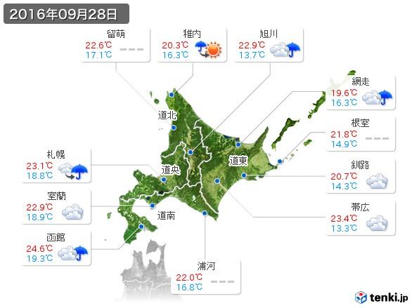 北海道地方(2016年09月28日の天気
