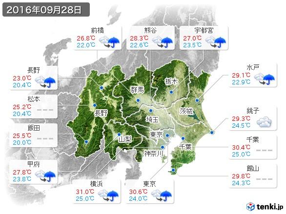 関東・甲信地方(2016年09月28日の天気