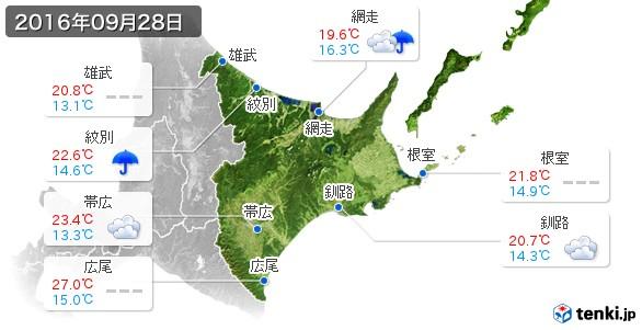 道東(2016年09月28日の天気
