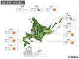 2016年10月01日の北海道地方の実況天気