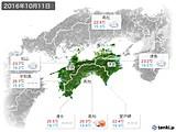 2016年10月11日の四国地方の実況天気