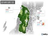 2016年10月11日の山形県の実況天気