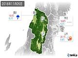 2016年11月05日の山形県の実況天気