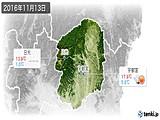 2016年11月13日の栃木県の実況天気