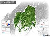 2016年11月26日の広島県の実況天気
