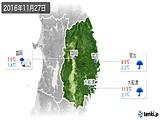 2016年11月27日の岩手県の実況天気