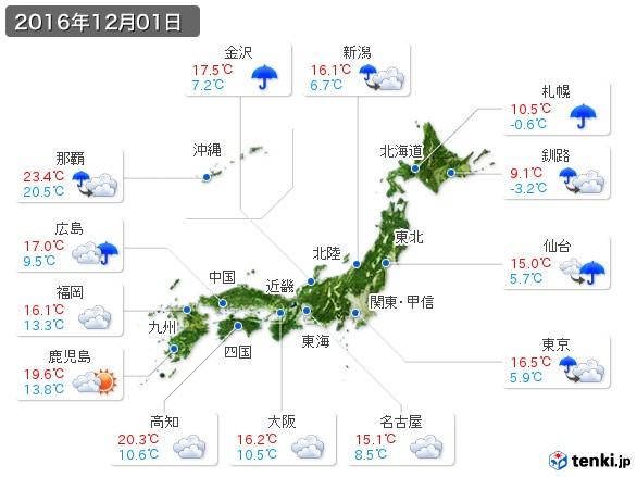 (2016年12月01日の天気