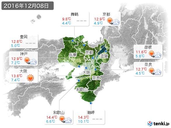 近畿地方(2016年12月08日の天気