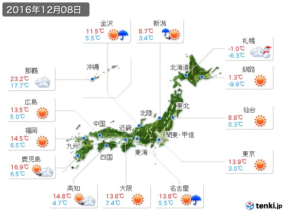 (2016年12月08日の天気