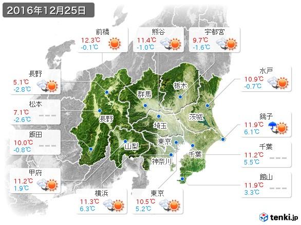 関東・甲信地方(2016年12月25日の天気
