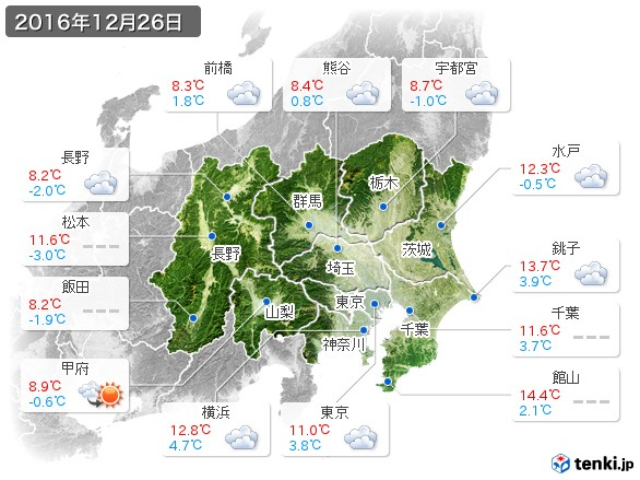 関東・甲信地方(2016年12月26日の天気