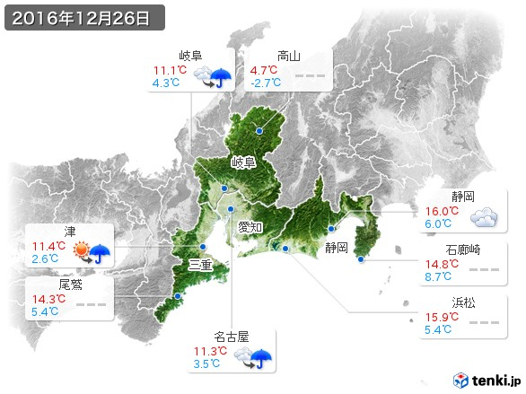 東海地方(2016年12月26日の天気