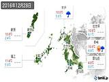 2016年12月28日の長崎県の実況天気