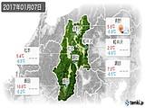 2017年01月07日の長野県の実況天気