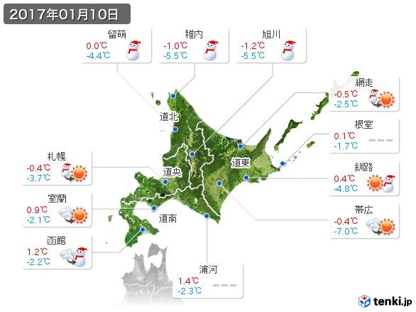北海道地方(2017年01月10日の天気