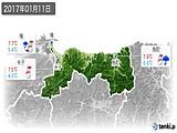 2017年01月11日の鳥取県の実況天気