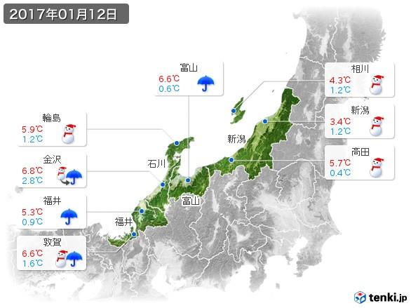 北陸地方(2017年01月12日の天気