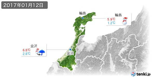 石川県(2017年01月12日の天気
