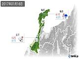 2017年01月16日の石川県の実況天気