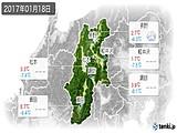 2017年01月18日の長野県の実況天気