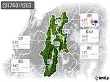 2017年01月20日の長野県の実況天気