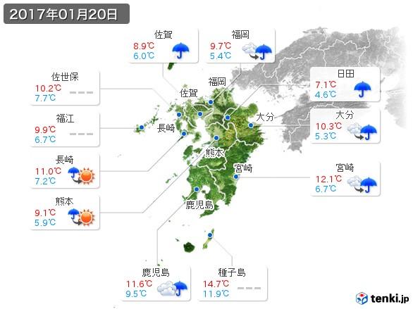 九州地方(2017年01月20日の天気