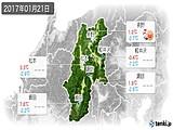 2017年01月21日の長野県の実況天気