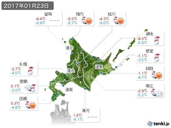 北海道地方(2017年01月23日の天気