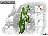 2017年01月25日の長野県の実況天気