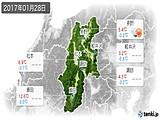 2017年01月28日の長野県の実況天気