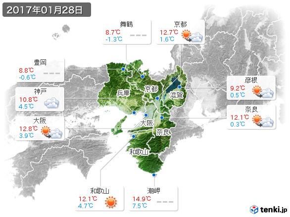 近畿地方(2017年01月28日の天気