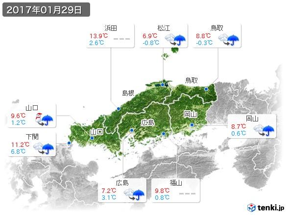 中国地方(2017年01月29日の天気