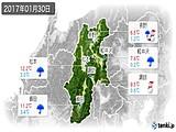 2017年01月30日の長野県の実況天気
