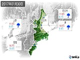 2017年01月30日の三重県の実況天気