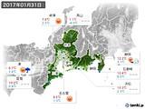 2017年01月31日の東海地方の実況天気