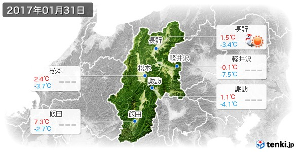 長野県(2017年01月31日の天気