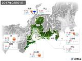 2017年02月01日の東海地方の実況天気