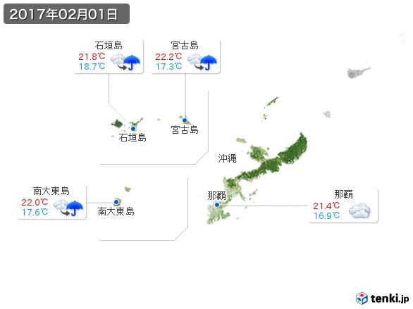 沖縄地方(2017年02月01日の天気
