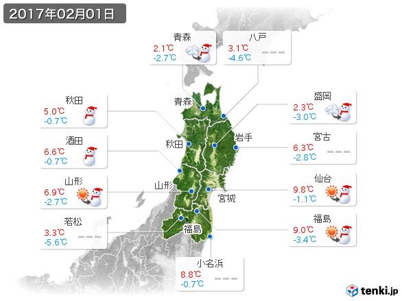 東北地方(2017年02月01日の天気