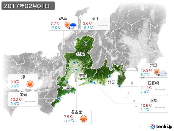 東海地方(2017年02月01日の天気