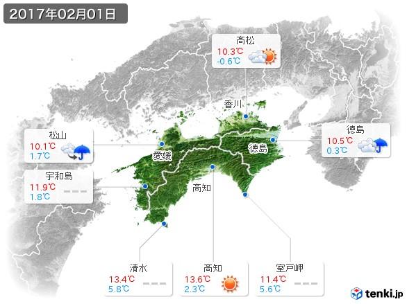 四国地方(2017年02月01日の天気